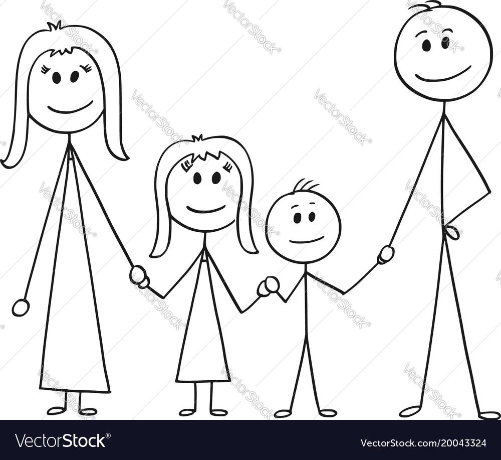 Cartoon of happy family vector image