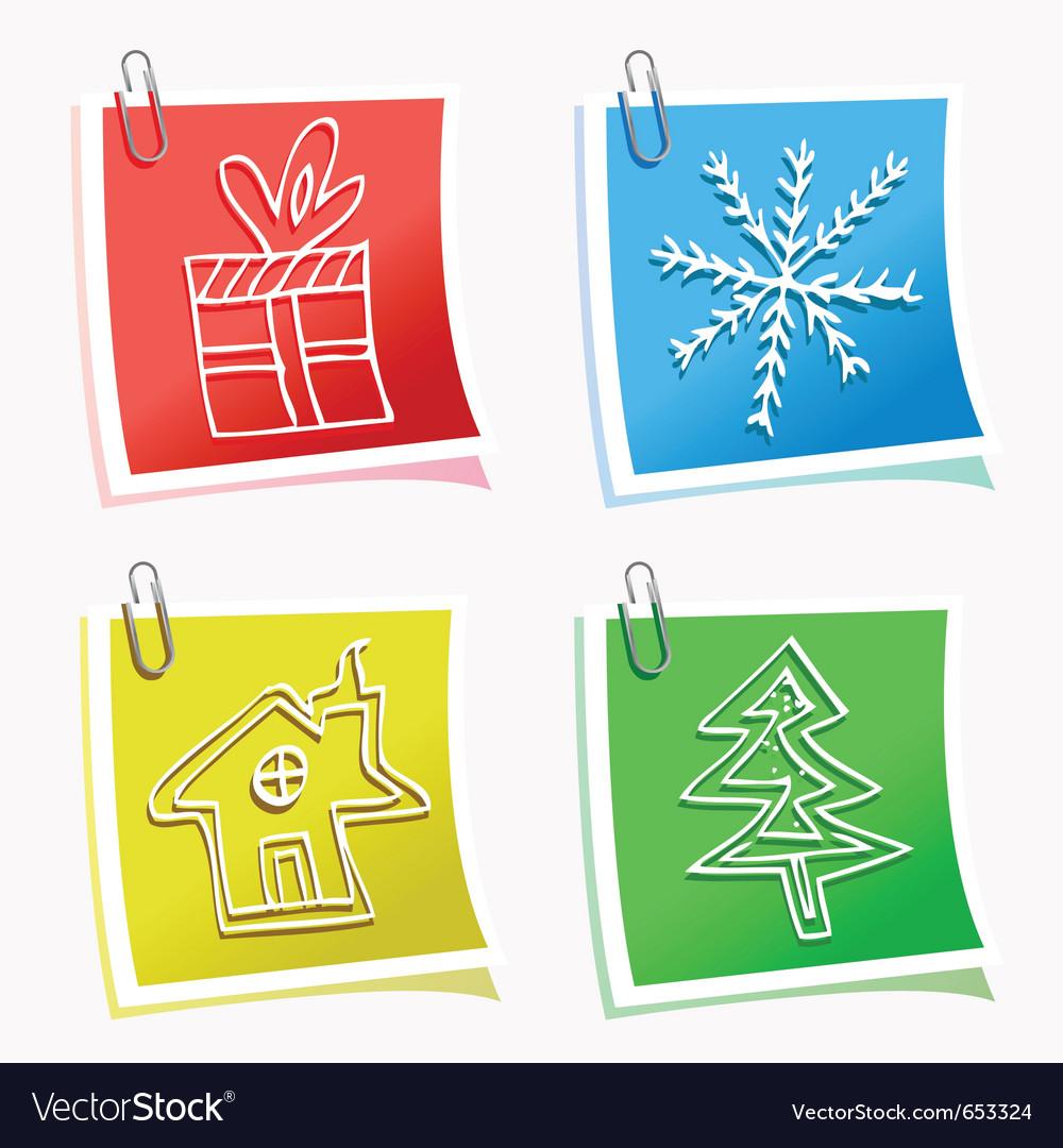 Christmas symbols with sticky