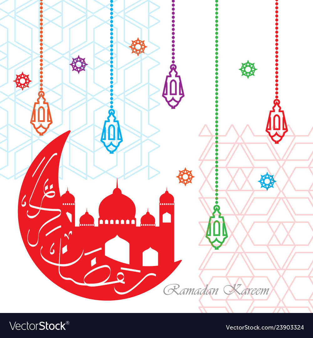 Colorful ramadan kareem greeting with mosque and