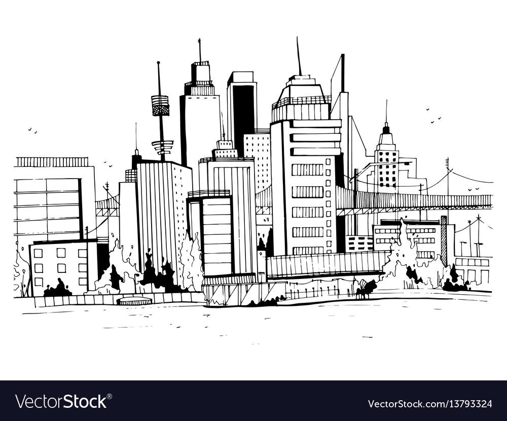 Megalopolis city street hand drawn