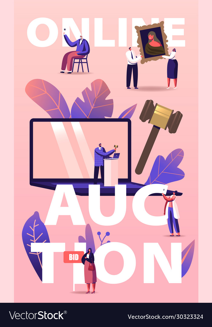 Online auction concept people buying assets