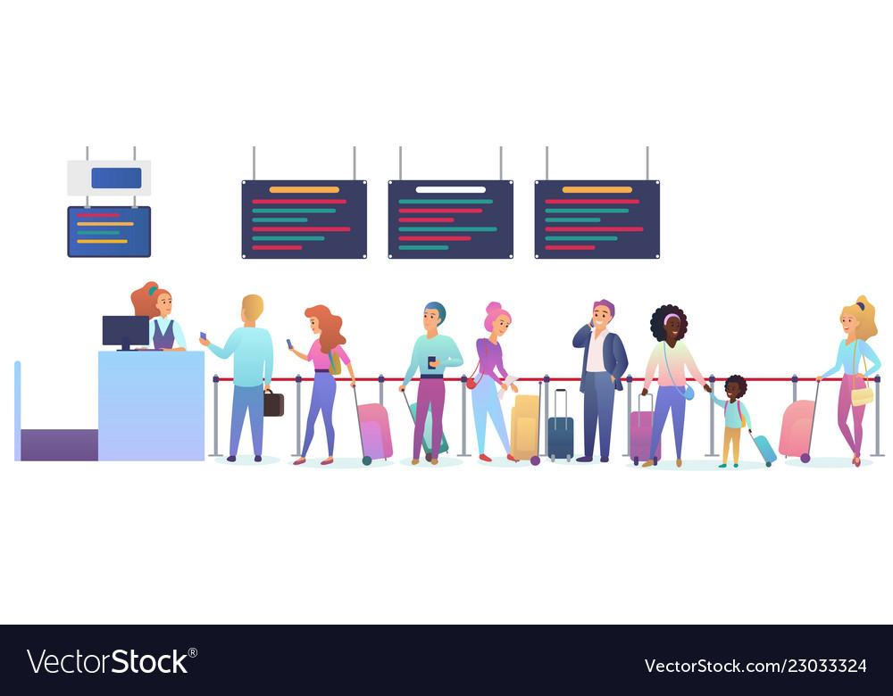 People with baggage waiting for airplane departure