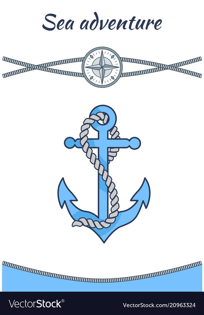 Sea adventure banner big blue anchor image
