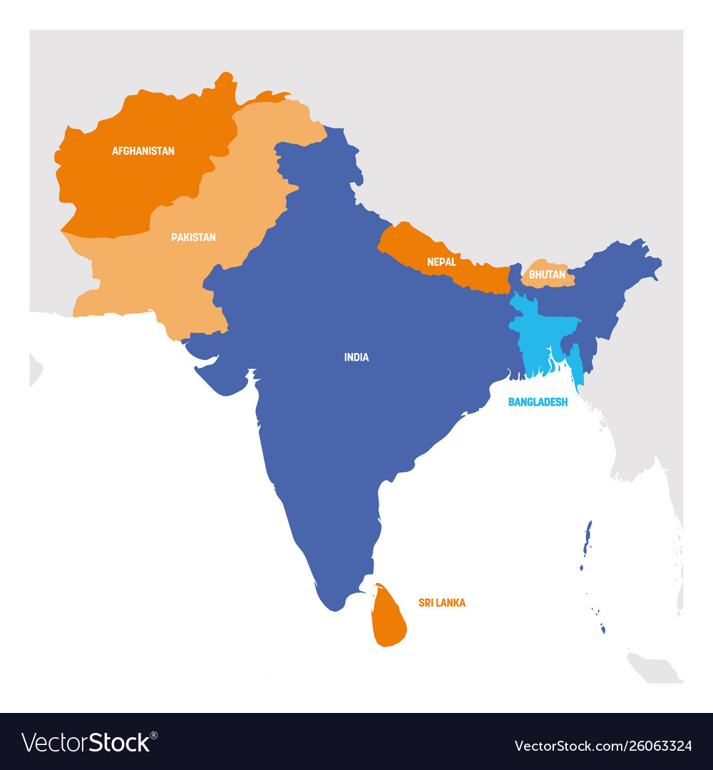 Picture of: South Asia Region Map Countries In Southern Vector Image