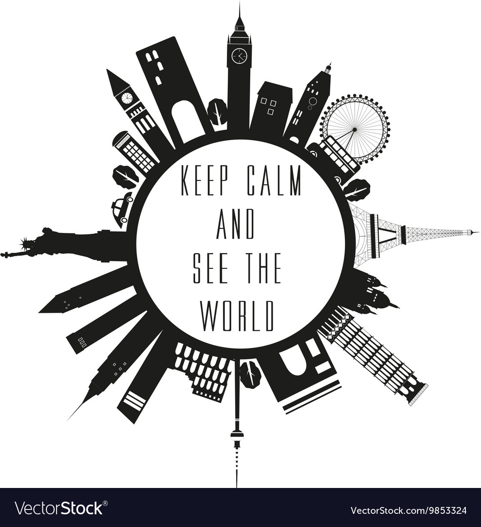 Travel globe in black and white with quote vector image