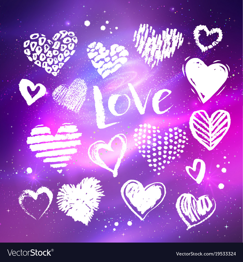 White hearts on space background