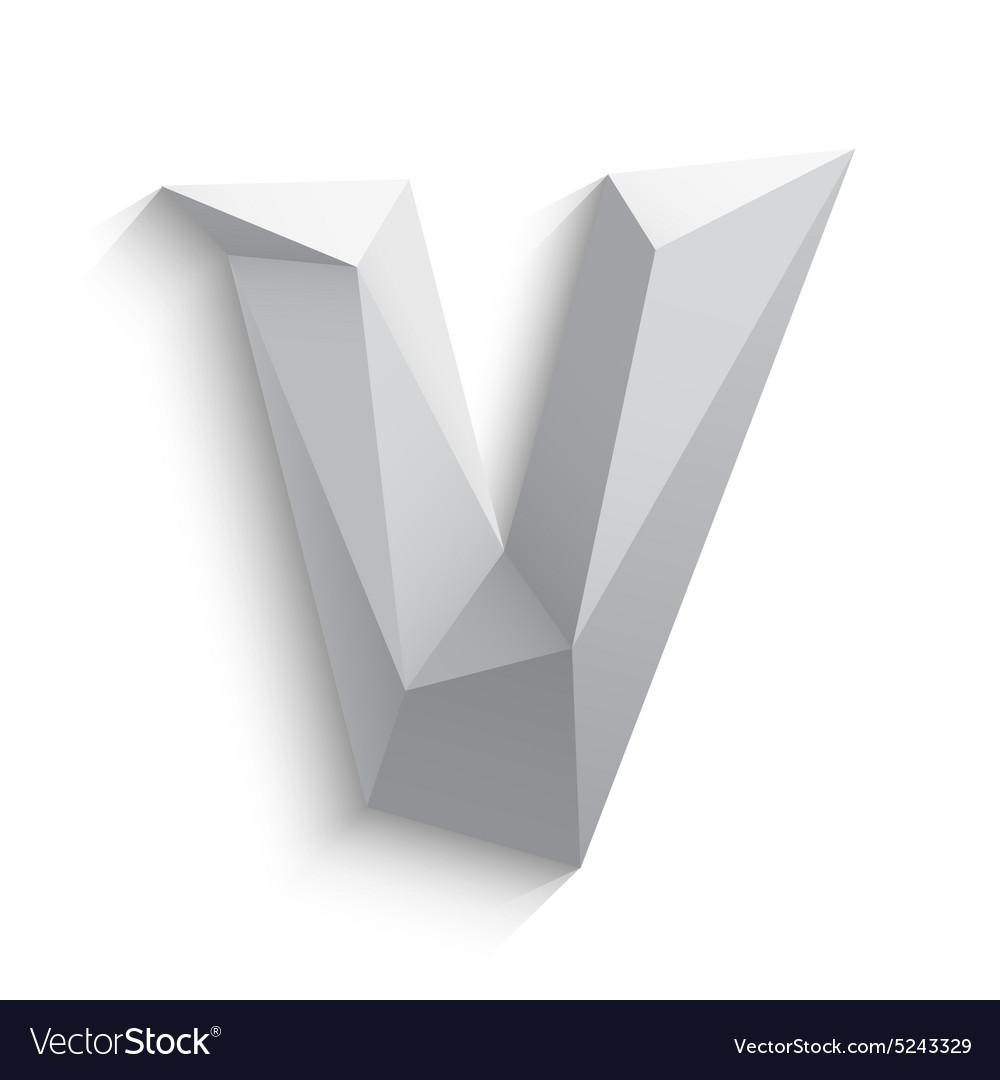 3d letter V on white