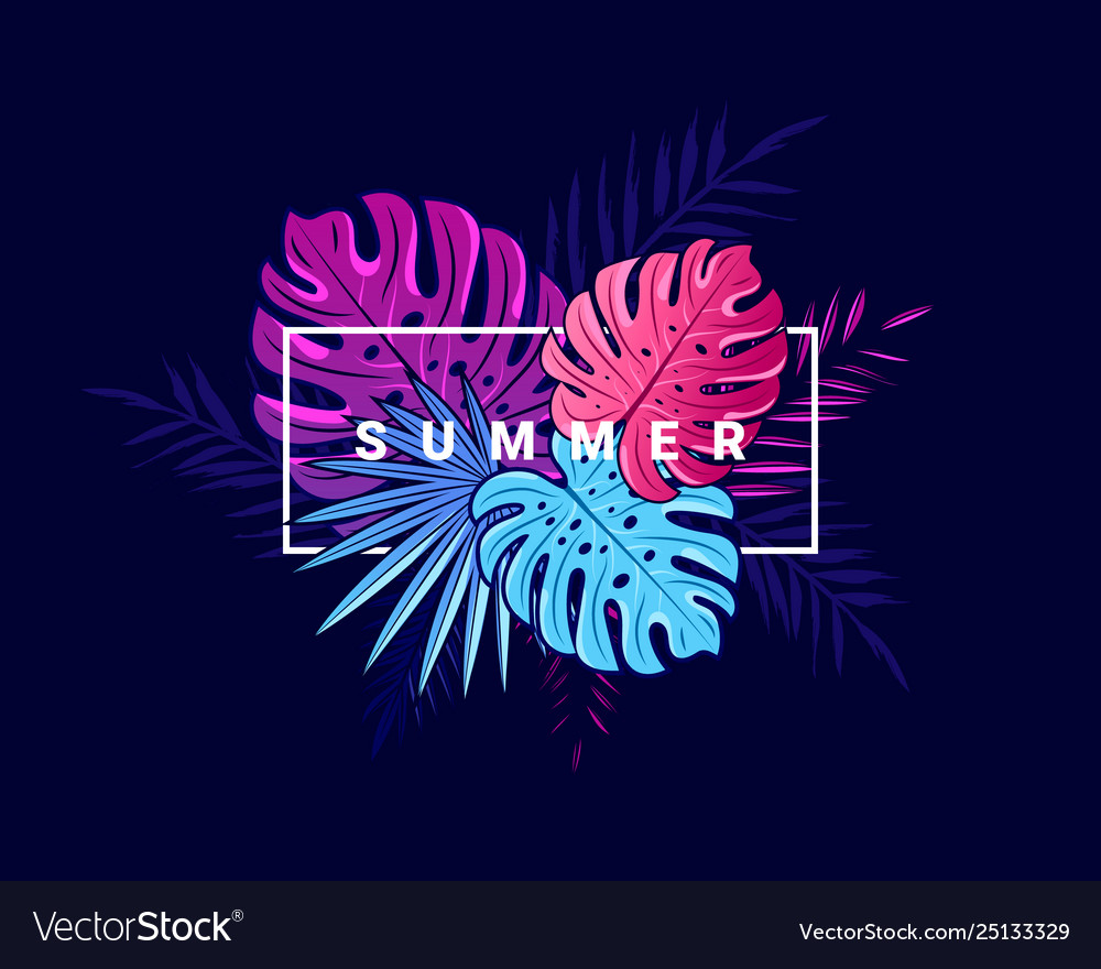 Bright tropical summer background with jungle