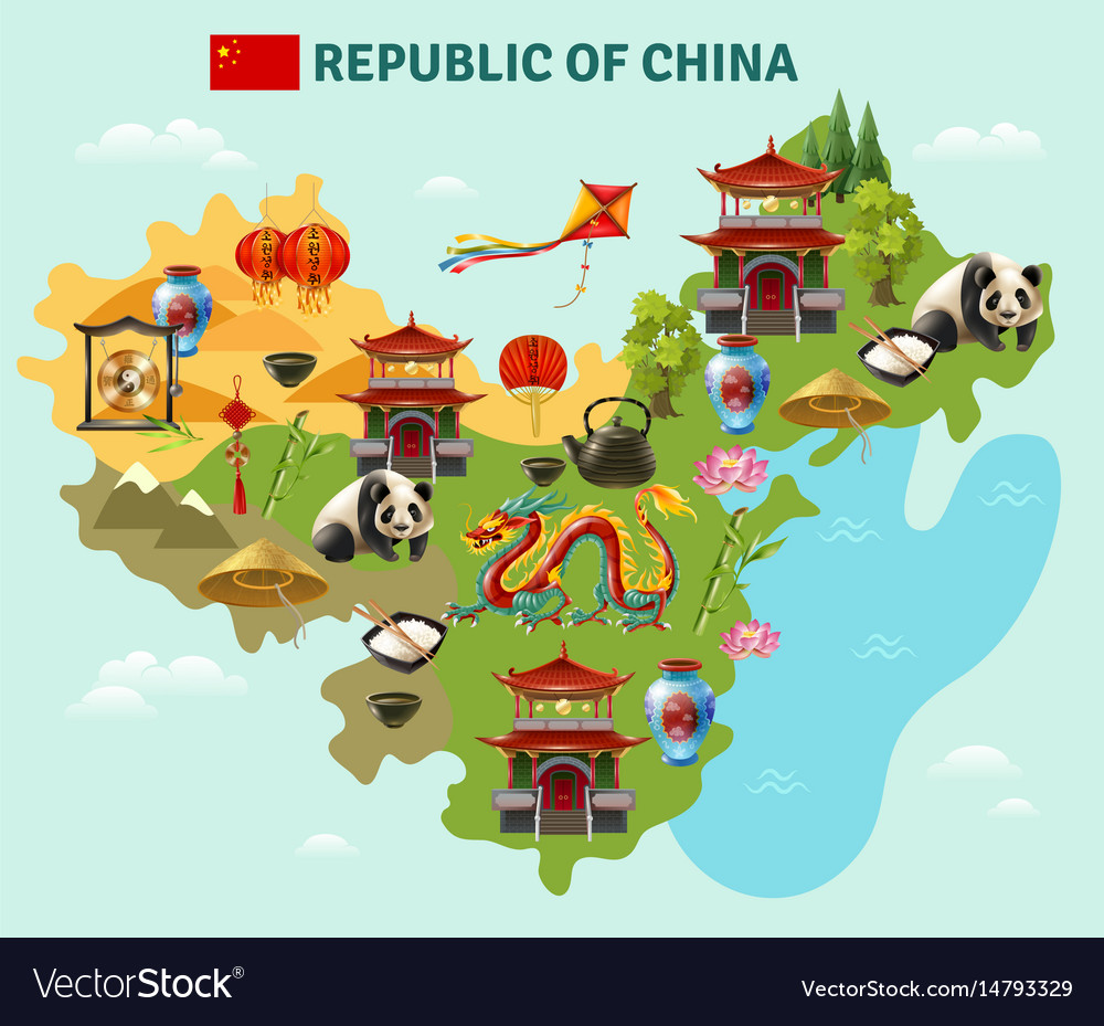 China travel sightseeing map poster Royalty Free Vector