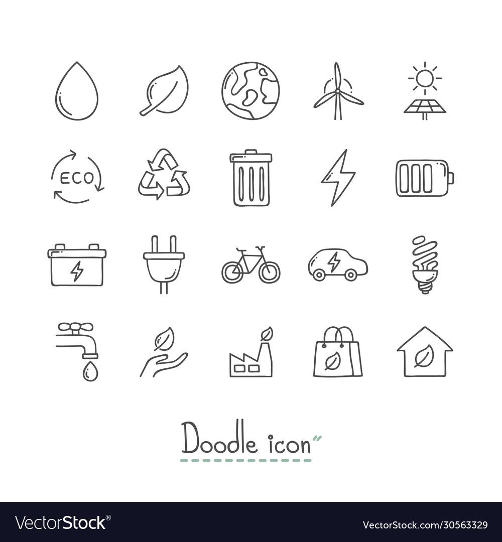 Doodle ecology icons