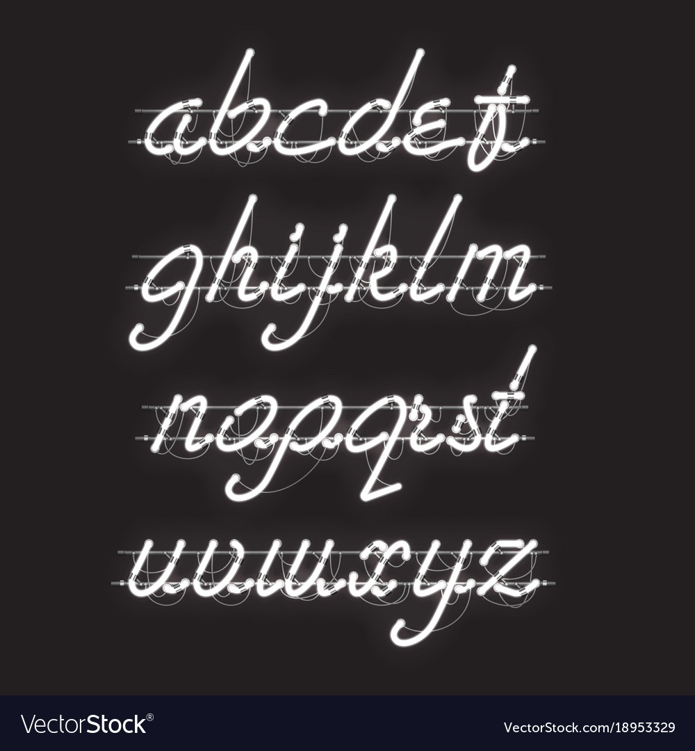 Glowing white neon lowercase script font
