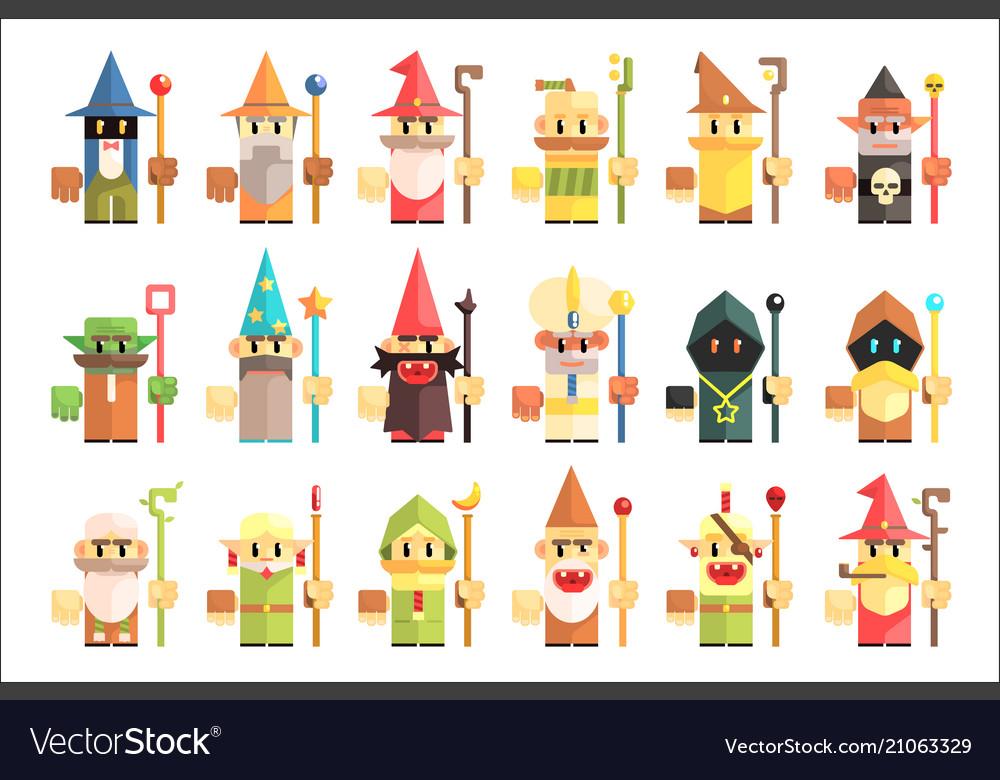 Gnomes dwarfs or elf and leprechaun cartoon magic
