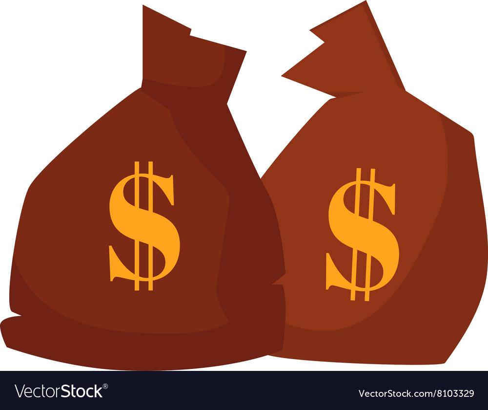 Money bag or sack cartoon style icon with dollar