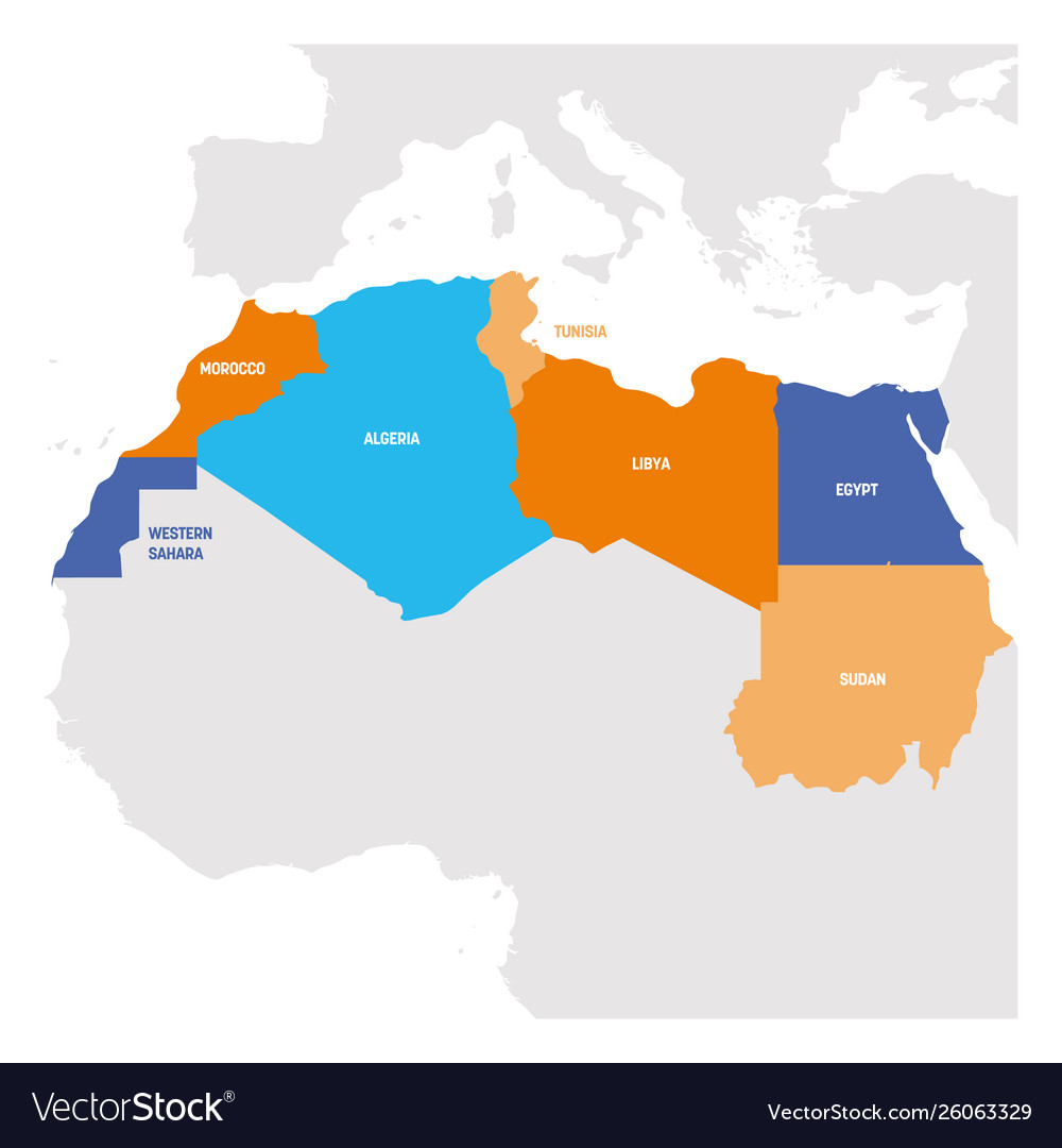 North africa region map countries in northern