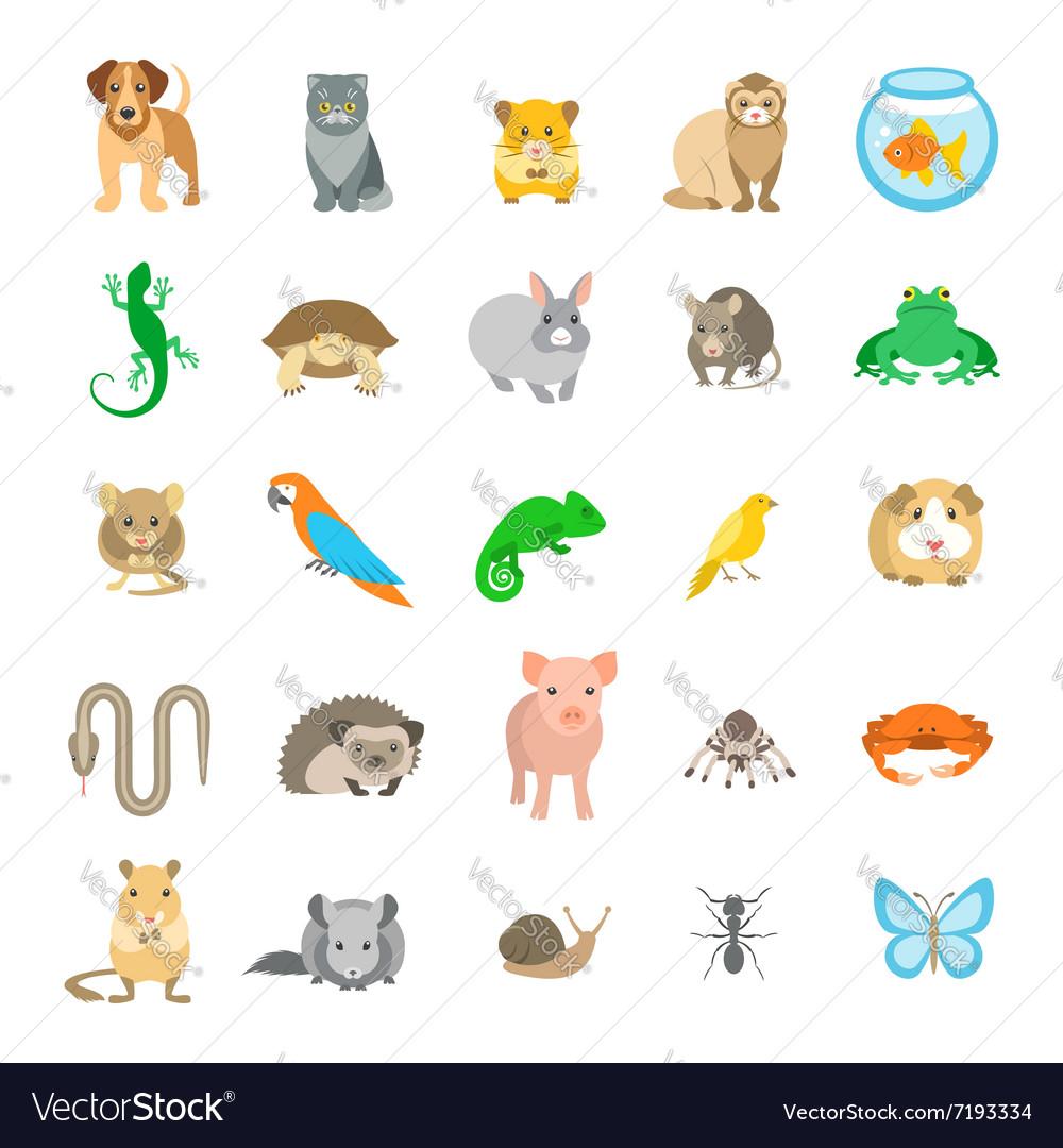 Animals pets flat colorful icons set
