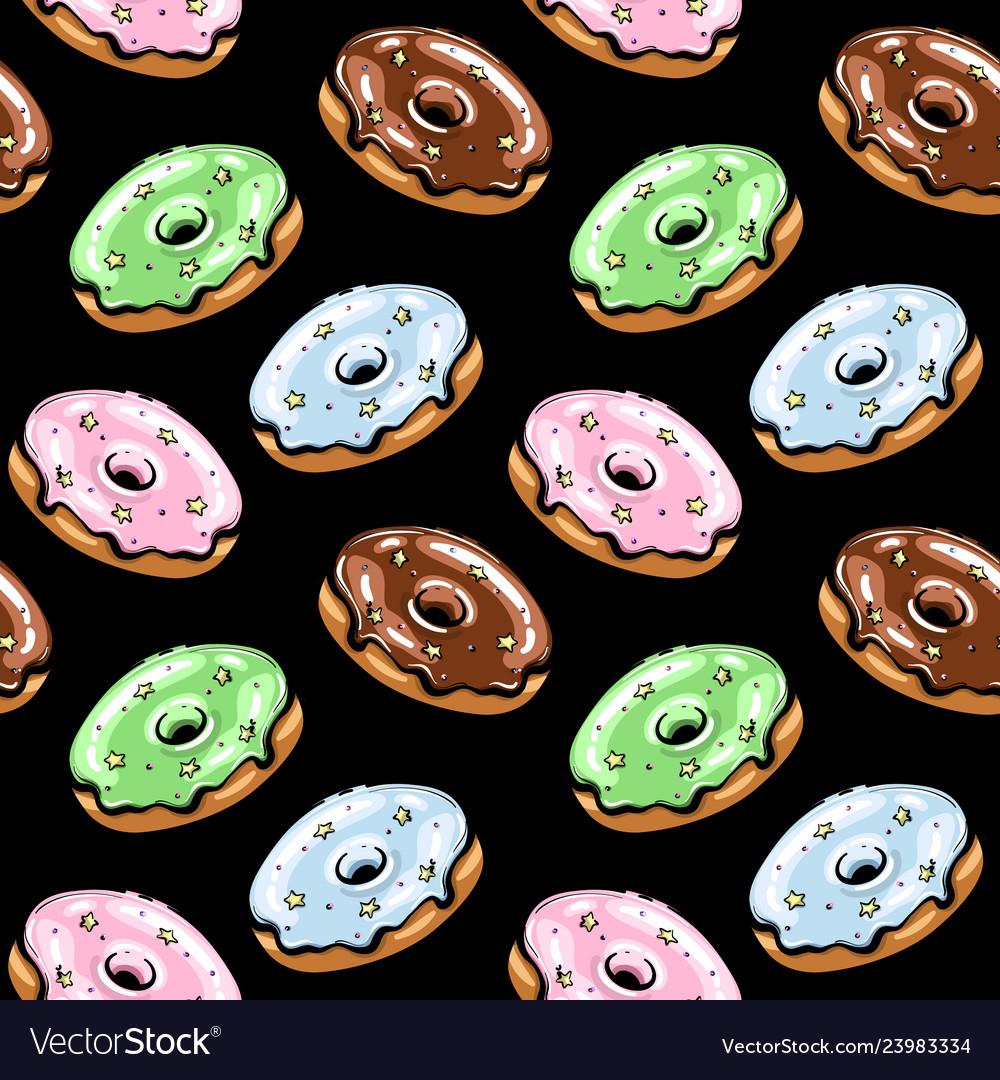 Black glazed donut seamless pattern