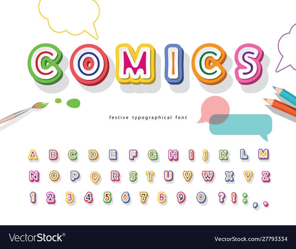 Comics 3d font cartoon paper cut out abc letters
