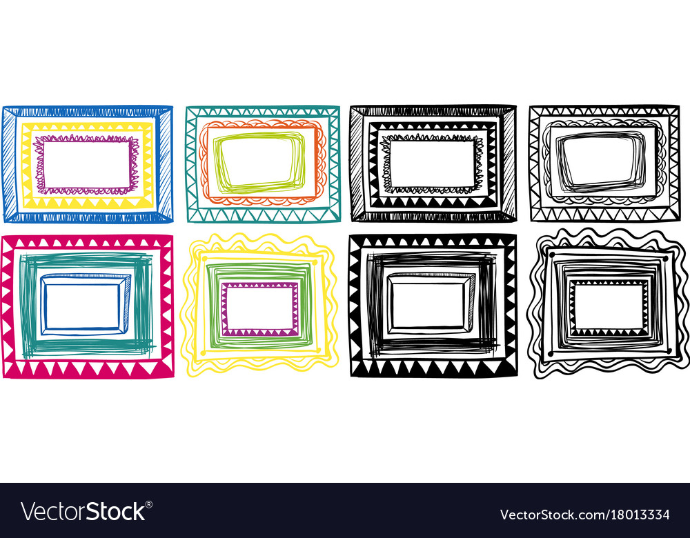 Different doodles of frame designs Royalty Free Vector Image