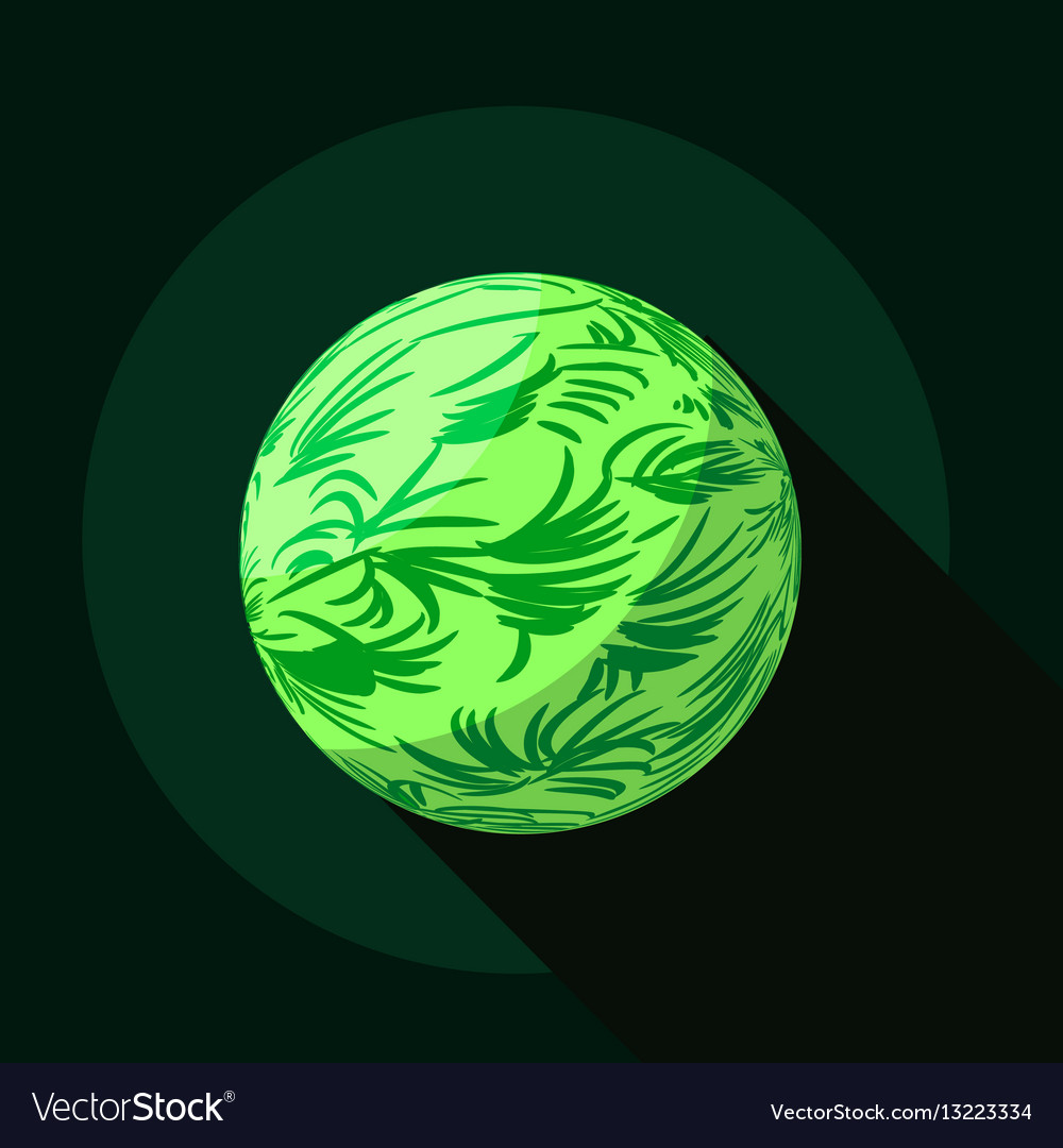 Green planet icon flat style vector image