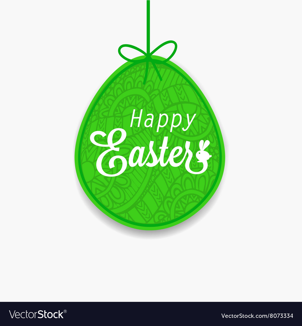Happy Easter Green egg with ribbon and bow for
