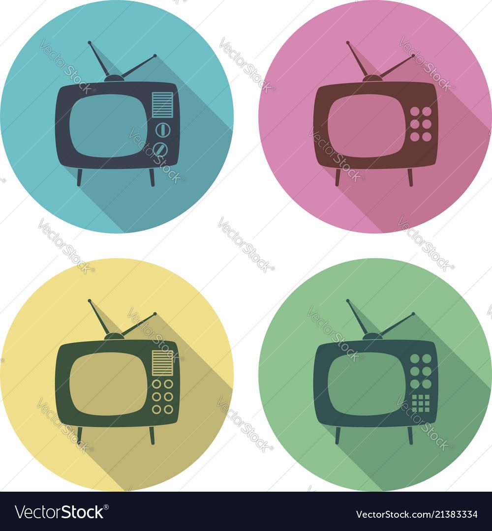 Retro tv set flat colorful icons