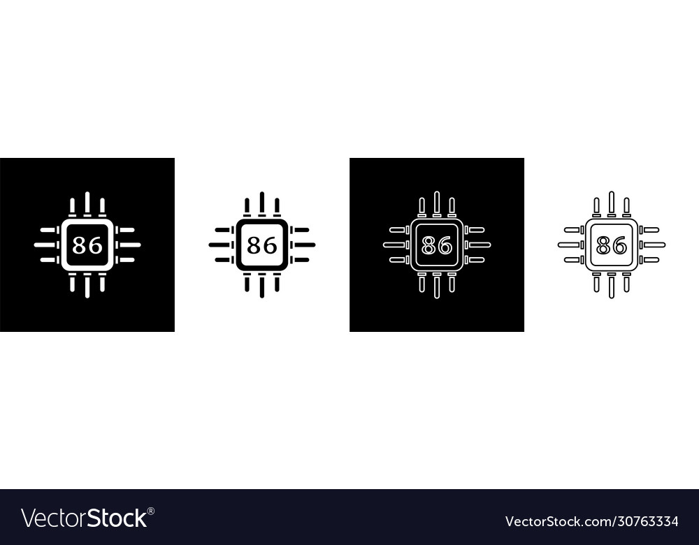 set computer processor with microcircuits cpu vector image set computer processor with microcircuits cpu vector image