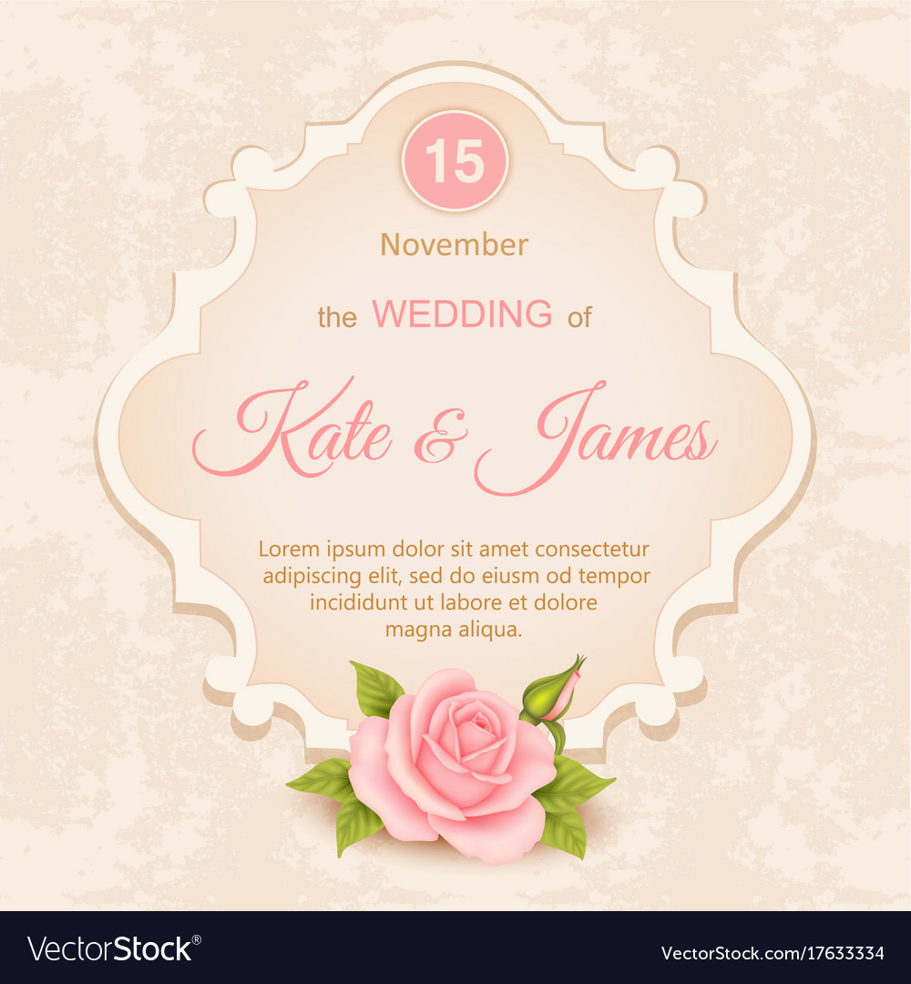 Vintage wedding invitation with roses Royalty Free Vector