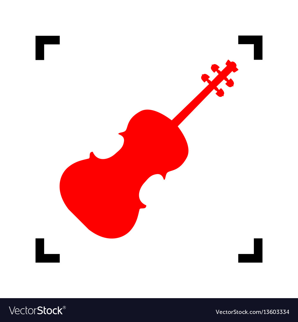 Violine sign red icon inside vector image