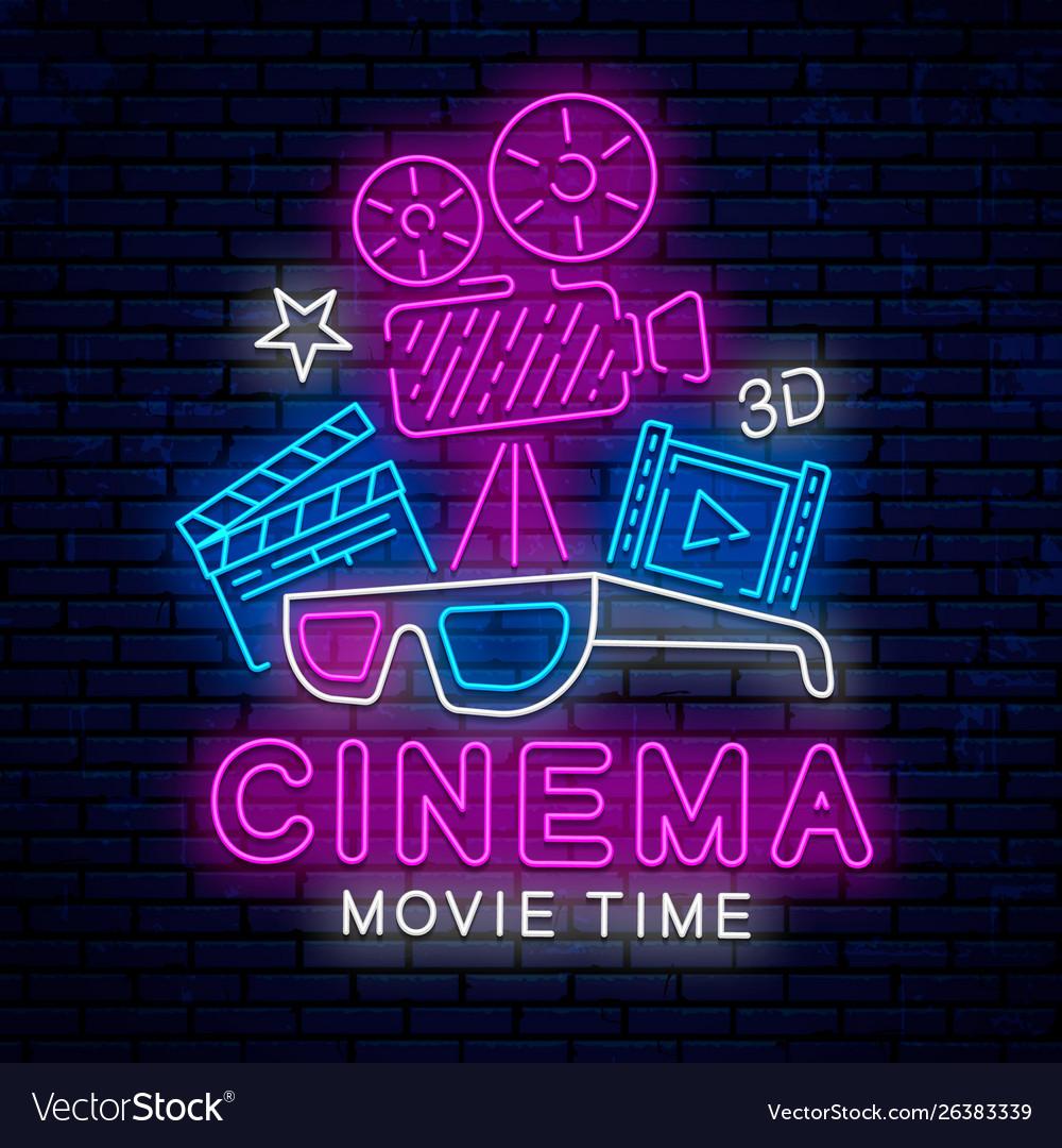 Beautiful neon sign for cinema