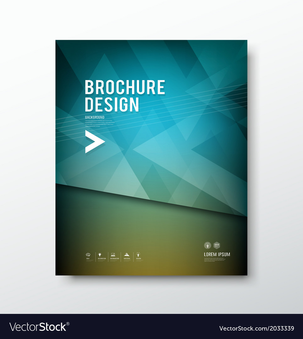 Cover brochure abstract triangle design blue backg