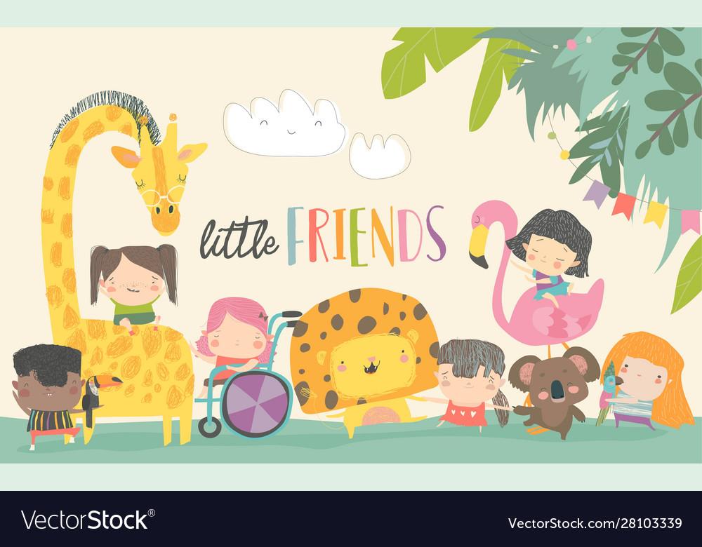 Cute children with cartoon animal happy friends