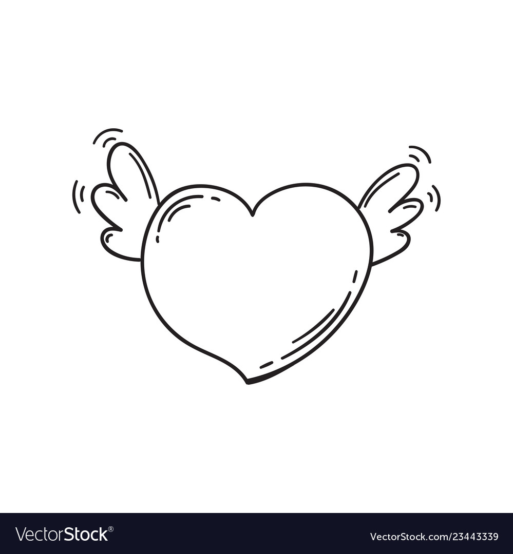 Flying heart with wings in doodle style template
