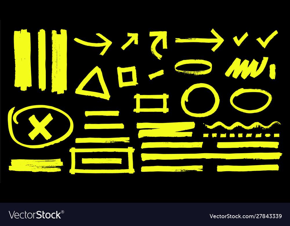 Highlighter marks hand drawn yellow highlight