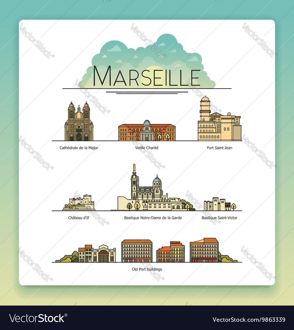 Line art Marseille France travel icon set