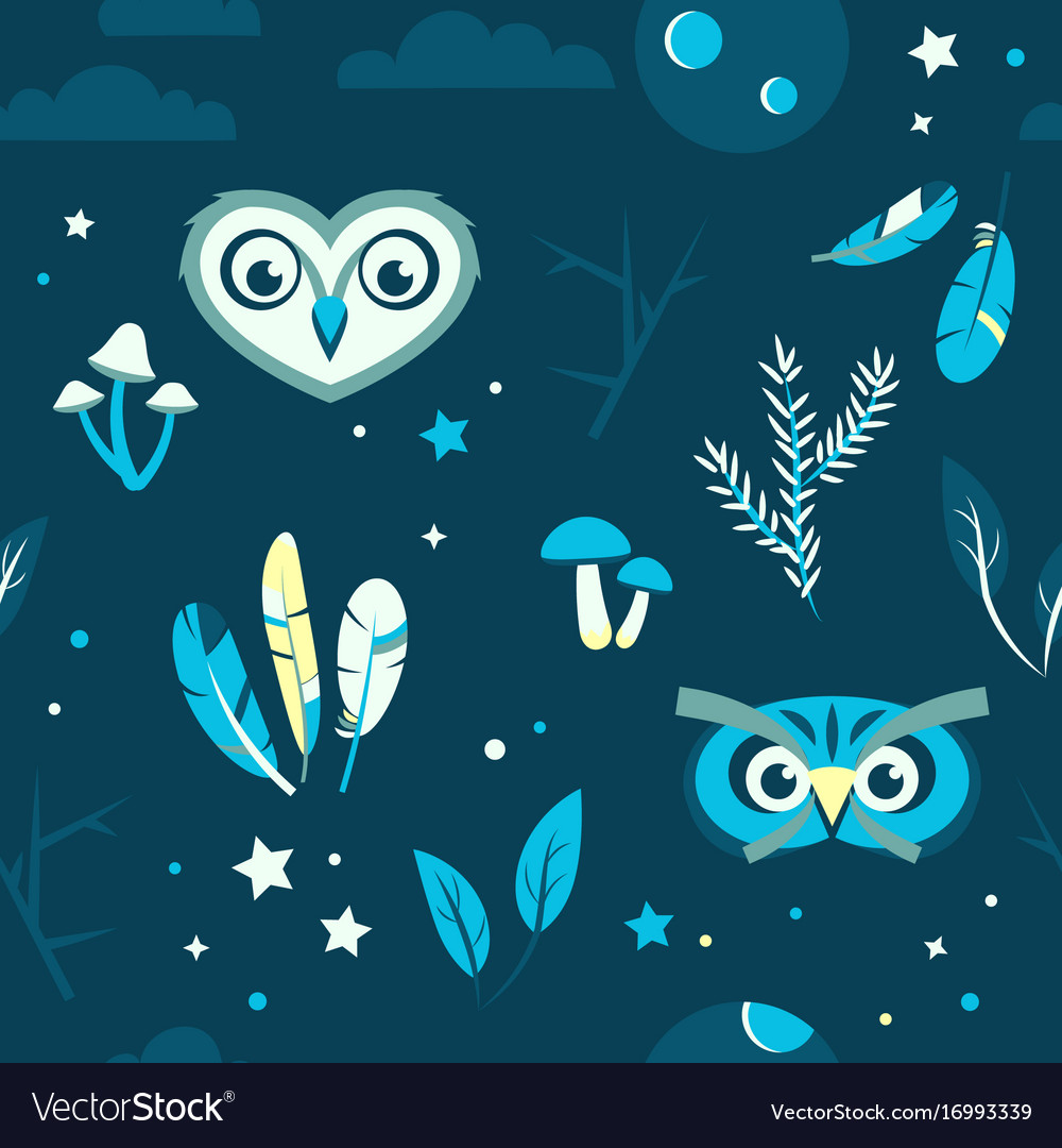 Seamless pattern with owls mushrooms feathers vector image