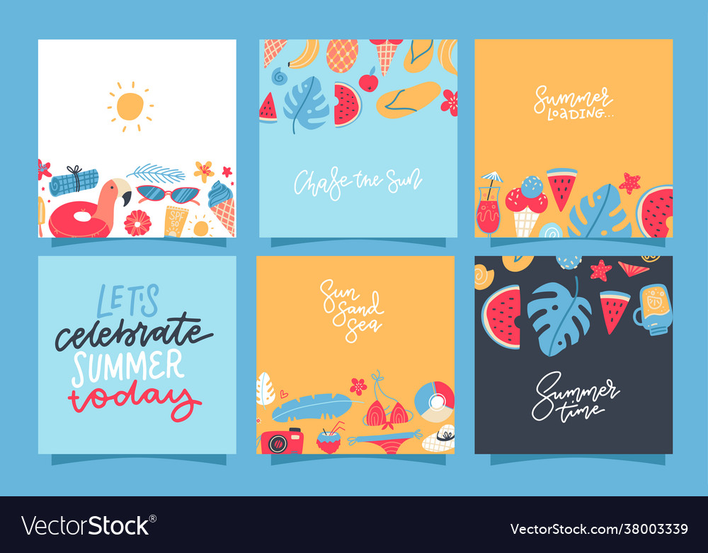 Set creative summer square cards placard
