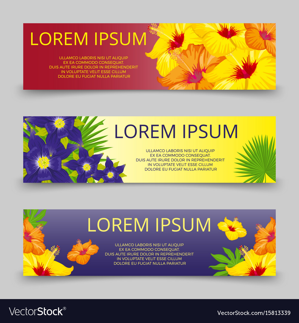 Tropical leaves and flowers banners template