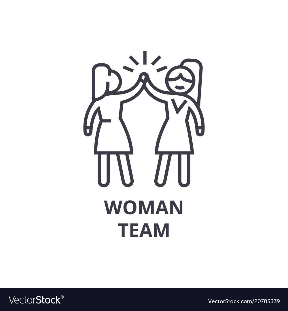 Woman team thin line icon sign symbol vector image