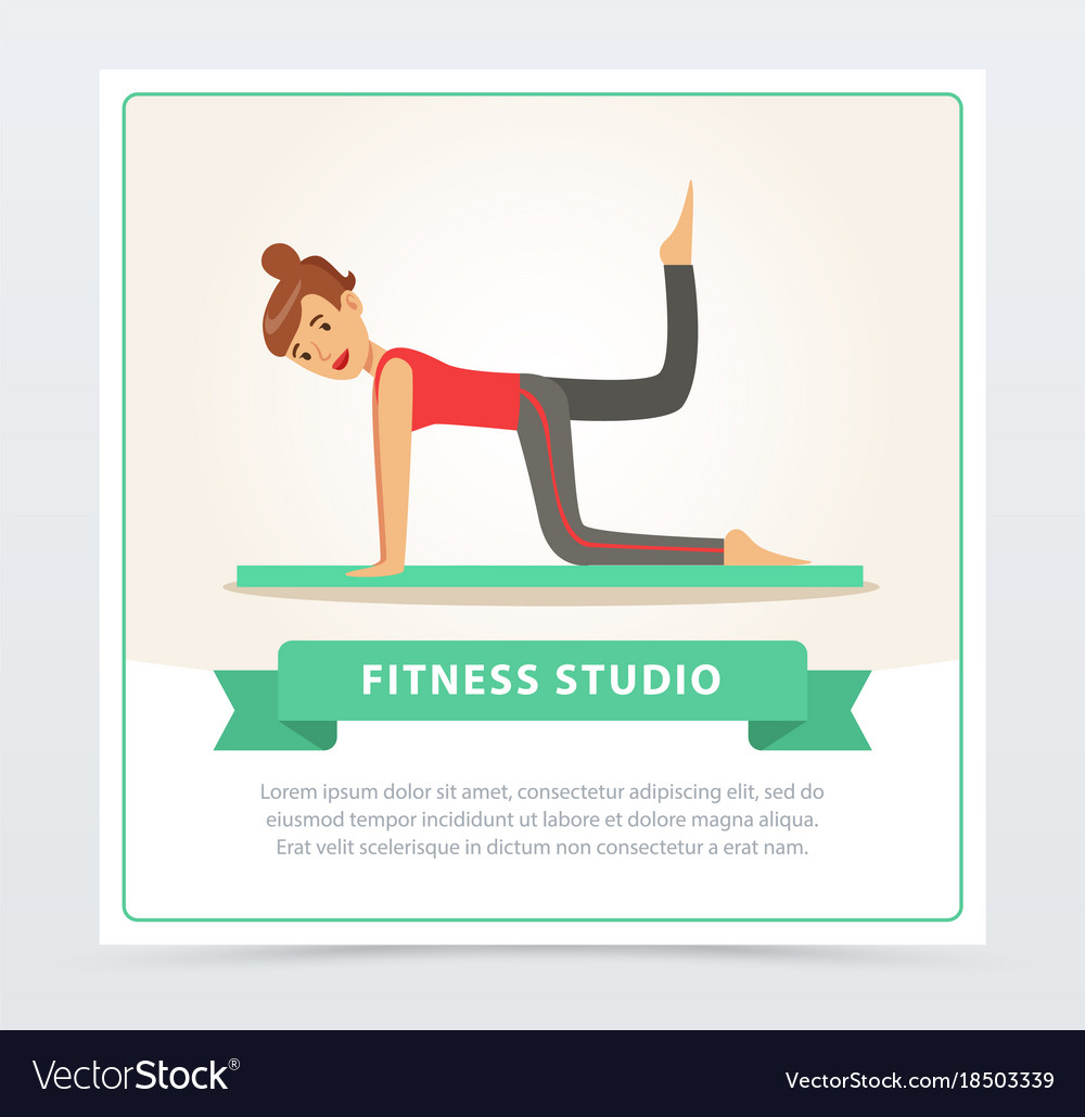 Young woman doing fitness exercises on a mat vector image