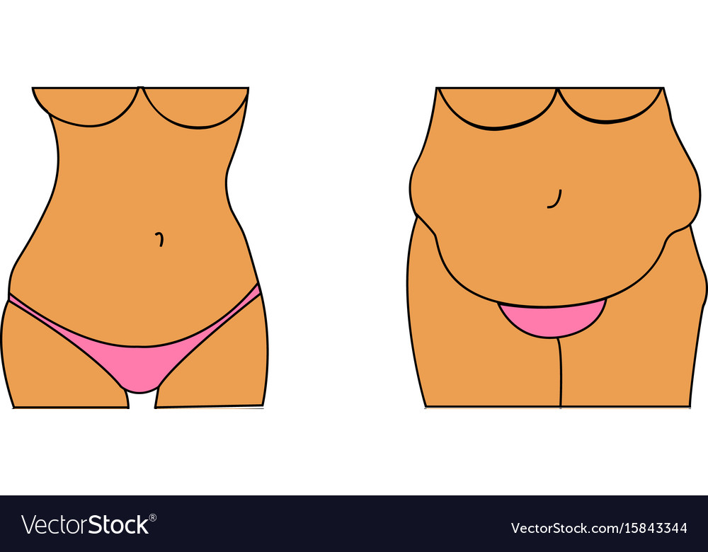A fat and thin female belly