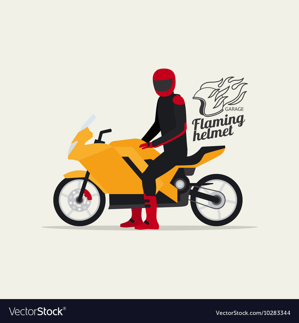 Biker with motorcycle and logo