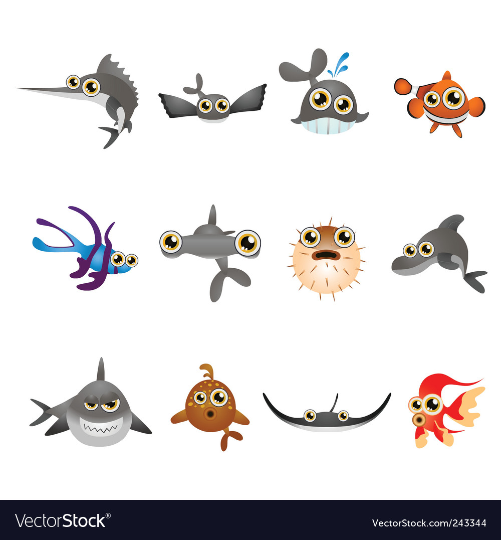 Cartoon Fishes Kissing. Cartoon Fish Set Vector