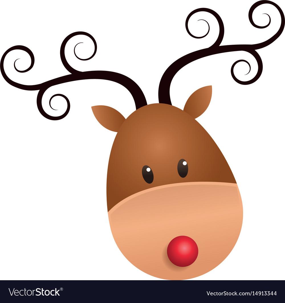 christmas cute reindeer face horns swirl cartoon vector image rh vectorstock com cartoon reindeer face cartoon rudolph face