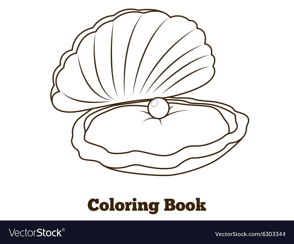 Coloring book oyster fish cartoon
