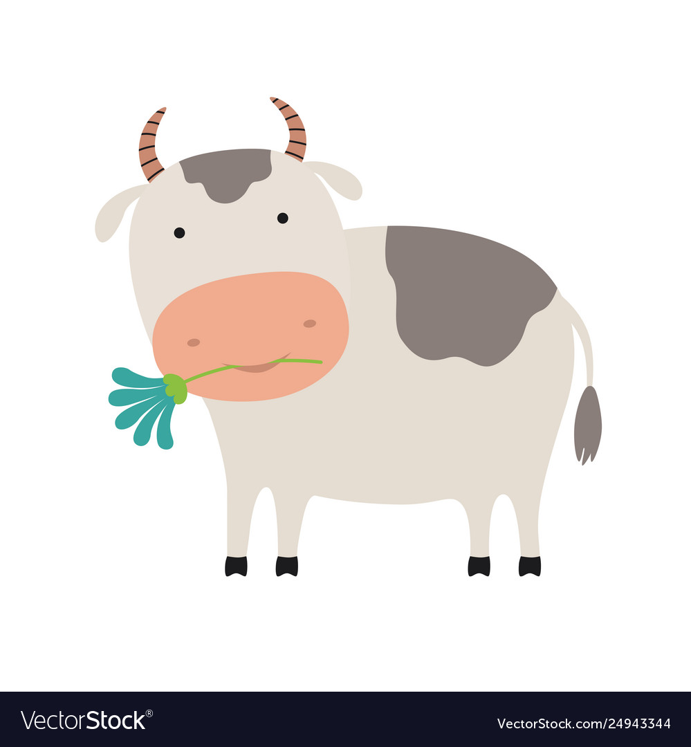 Cute cartoon cow with a flower