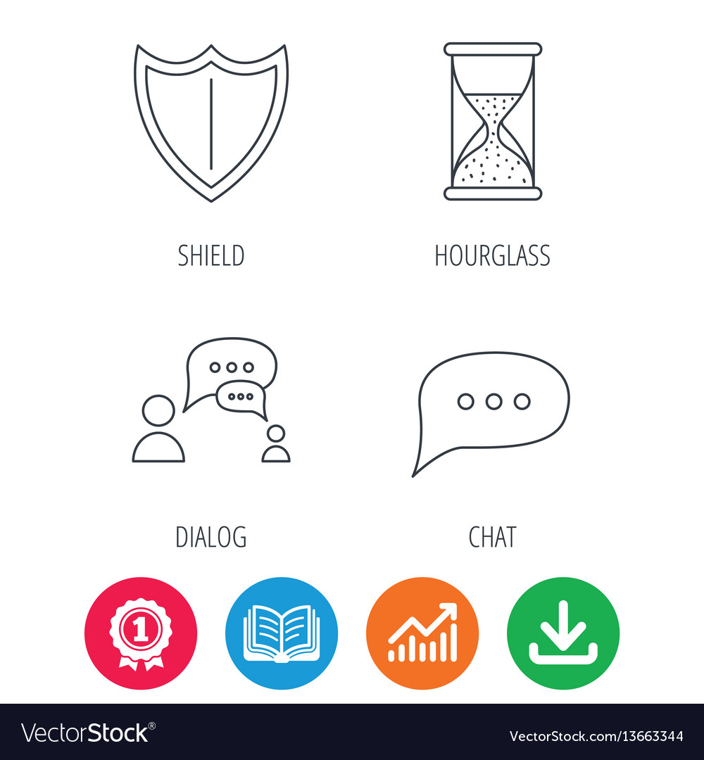 Dialog chat speech bubbles and shield icons