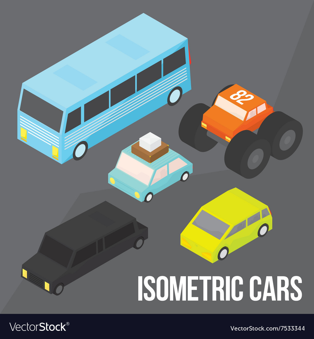 Isometric city transportation objects pack