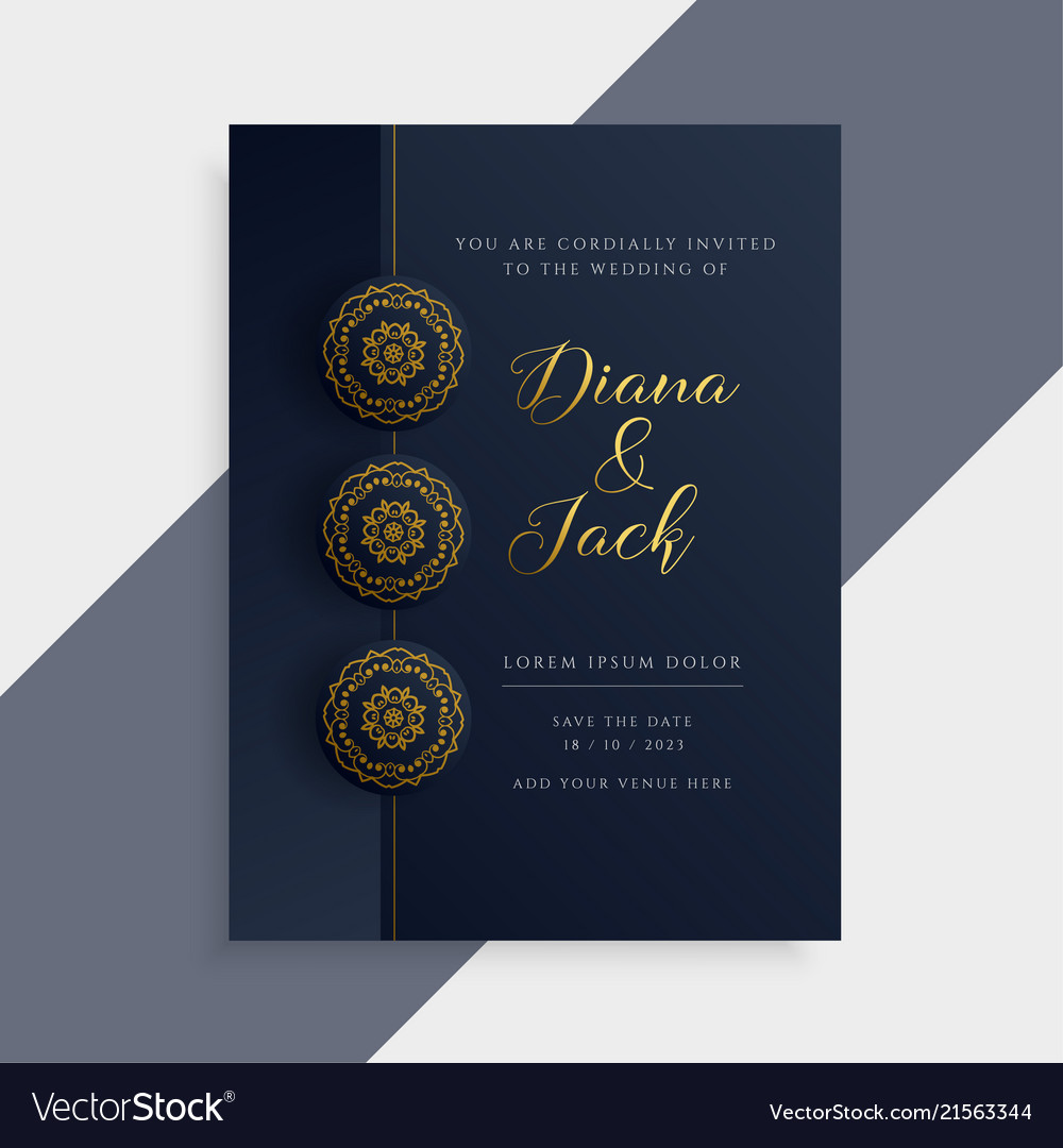 Luxury Wedding Invitation Card Design In Dark And