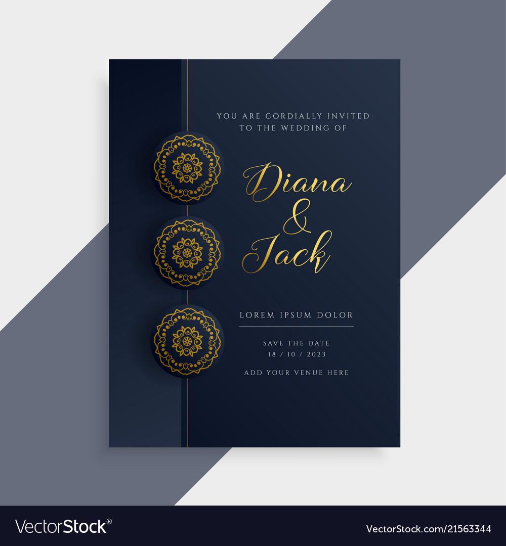 Luxury wedding invitation card design in dark Vector Image