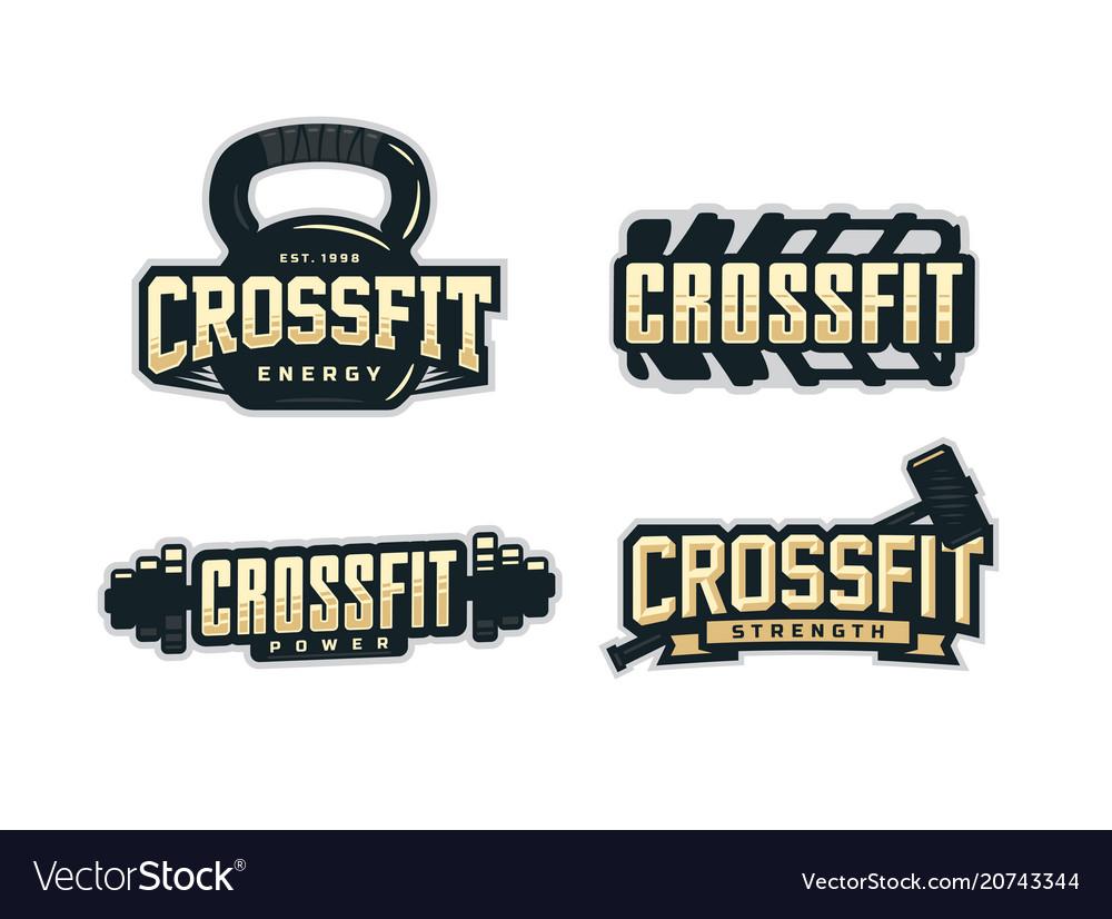 Modern professional logo emblem set for crossfit